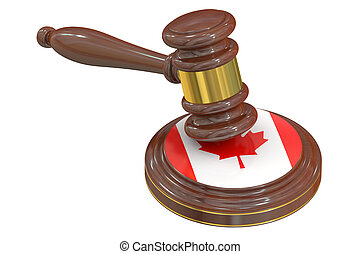 Wooden Gavel with Flag of Canada, 3D rendering
