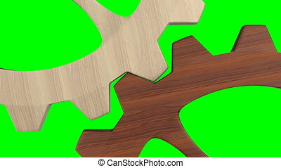 wooden gear on green background. Isolated 3d render