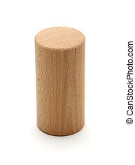 wooden geometric shapes cylinder prism isolated on a white background
