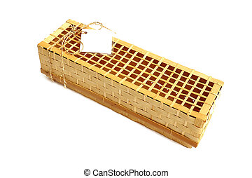 Wooden gift box for wine on white background