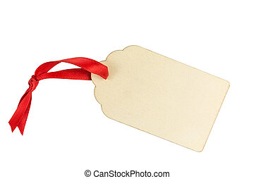 wooden gift tag with red ribbon