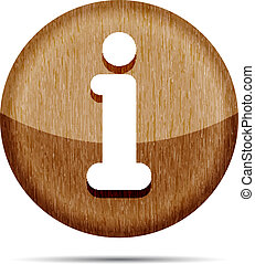 wooden glossy round info icon