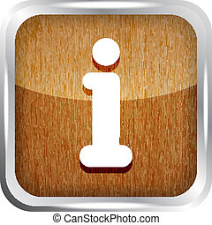 wooden glossy rounded info icon