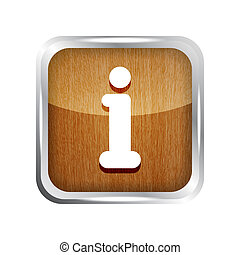 wooden glossy rounded info icon button on a white background