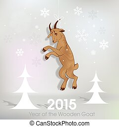 Wooden goat decoration on Christmas background