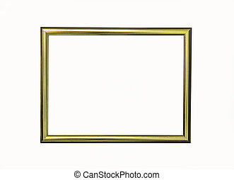 Wooden gold frame isolated