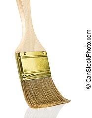 wooden gold paintbrush isolated on white