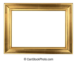 Wooden golden frame isolated on white background