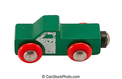 Wooden green retro toy car isolated on white