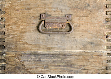 wooden grunge background - old wooden box plank with handle