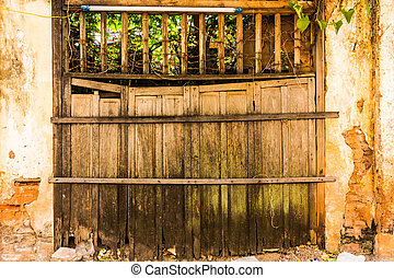 wooden grunge fence and gate