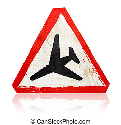 "wooden grungy painted ""low flying aircraft"" road sign isolated on white"