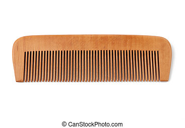 wooden hairbrush isolated on a white background