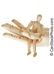 wooden hand holding wooden mannequin isolated on white