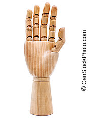 Wooden hand on a white background