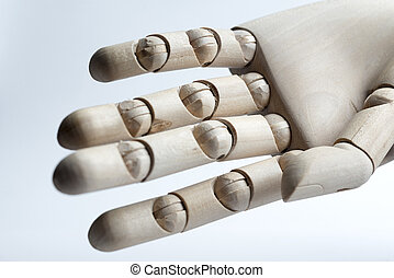 Wooden hand on a white background.