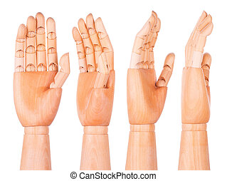 Wooden hand on a white background - Wooden hand isolated on ...