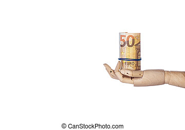 Wooden hand with money isolated on white background