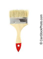 Wooden handle brush on white background.