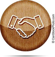wooden handshake thin line design icon - vector illustration