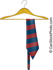 Wooden hanger with a striped tie