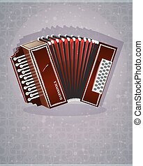 Wooden harmonica with red bellows on an abstract background