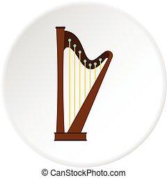 Wooden harp icon circle