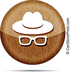 wooden hat with glasses icon on a white background
