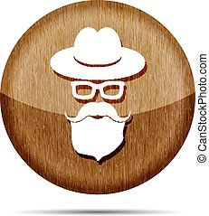 wooden hat with mustache, beard and glasses isolated on a white