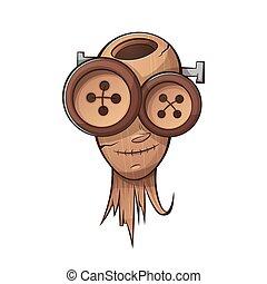 Wooden head, face people. Cartoon illustration.