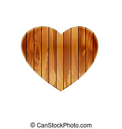 Isolated heart graphic element made out of wood