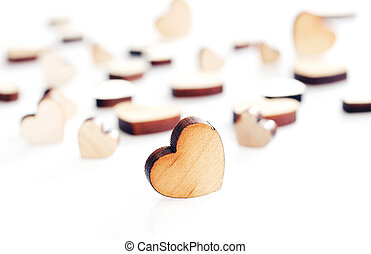 wooden heart on a white background