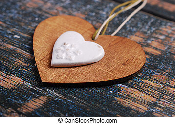 wooden heart on shabby old background