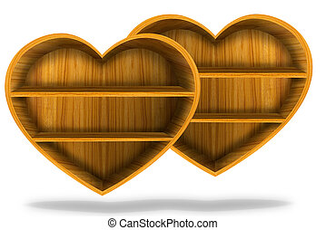 Wooden heart  shelf