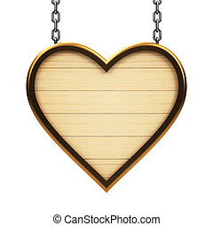 Wooden heart signboard on chain isolated on white...