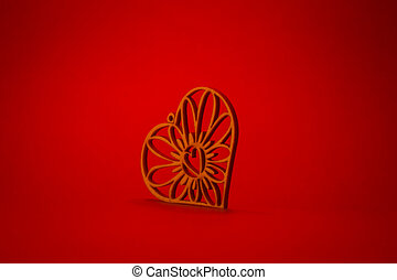 Wooden heart with designs on red background