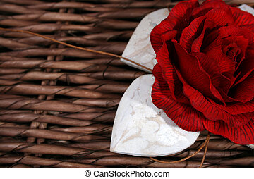 Wooden Hearts and Rose