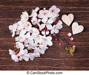 Wooden hearts placed nicely with beautiful spring cherry blossom