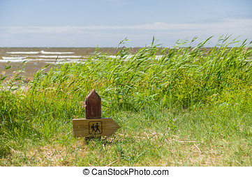 Wooden hiking trail signpost on the seacoast