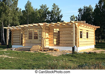 wooden home under construction