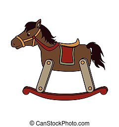 wooden horse toy icon vector illustration