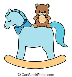 wooden horse toy with teddy bear