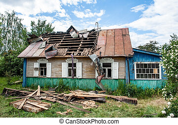 Wooden house after a fire
