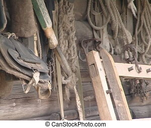 Wooden house and ancient tools