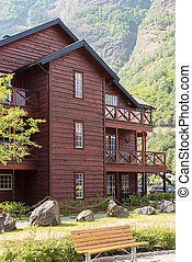 Wooden house and camping in mountains, in Norway