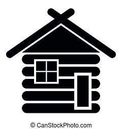 Wooden house Barn with wood Modular log cabins Wood cabin modular homes icon black color vector illustration flat style image