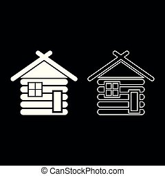 Wooden house Barn with wood Modular log cabins Wood cabin modular homes icon set white color illustration flat style simple image