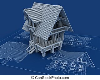 wooden house blueprint
