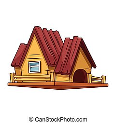 Wooden house cartoon vector illustration graphic design