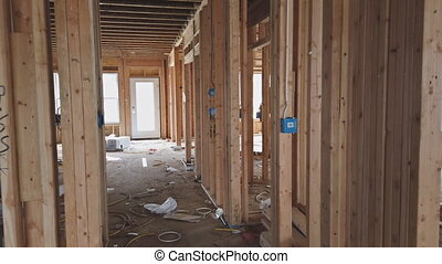 Wooden house construction home framing interior residential home